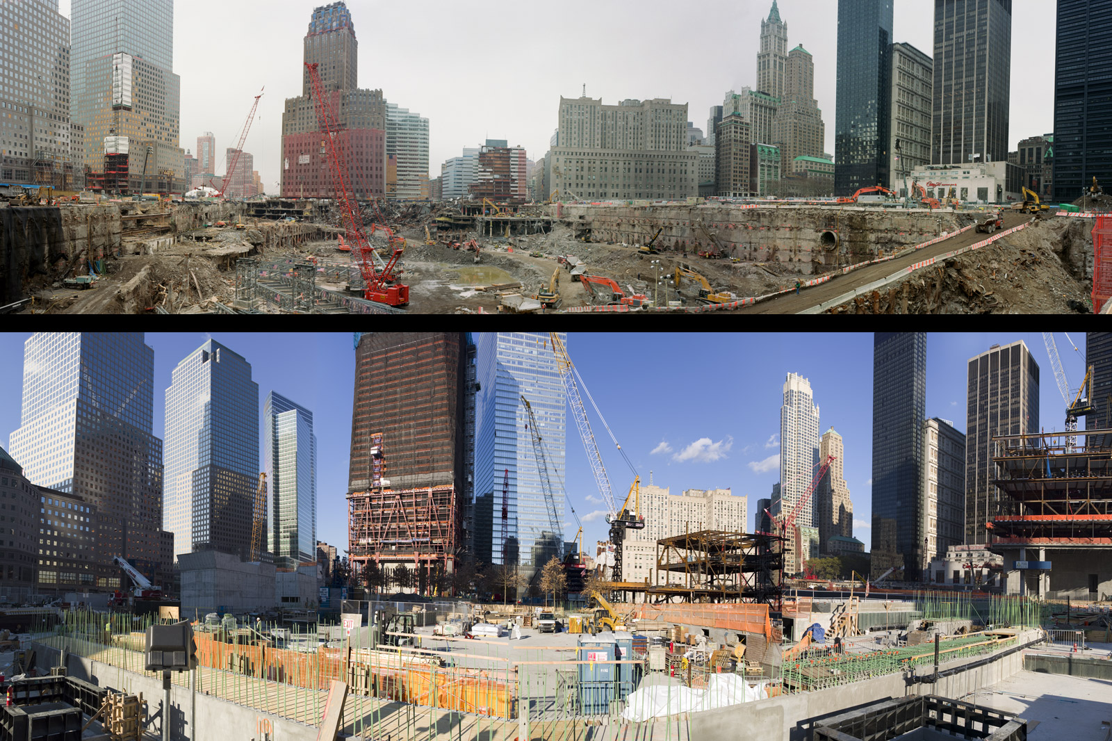 Assembled panoramas looking northeast from the southern end of the site show the emptiness of the pit in February 2002 (top) and the flurry of construction in November 2010