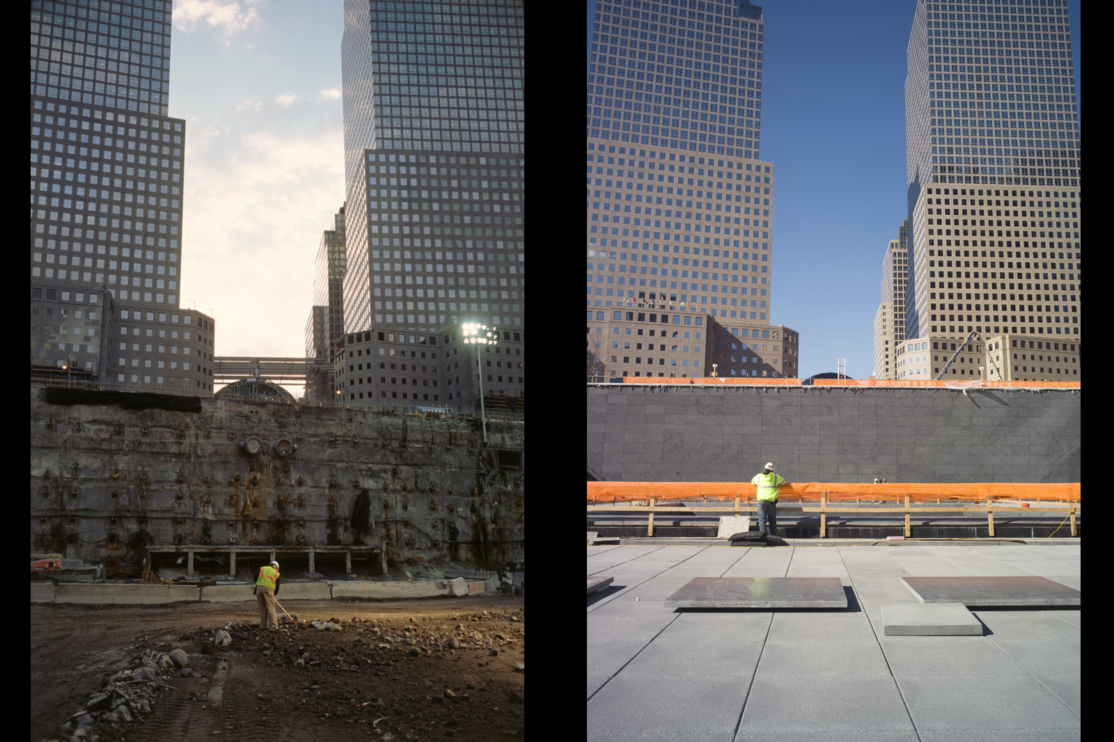 A lone worker rakes through debris near the west slurry wall in May 2002 (left). More than eight years later, a worker inside the north reflecting pool looks over the edge into the second recessed pool