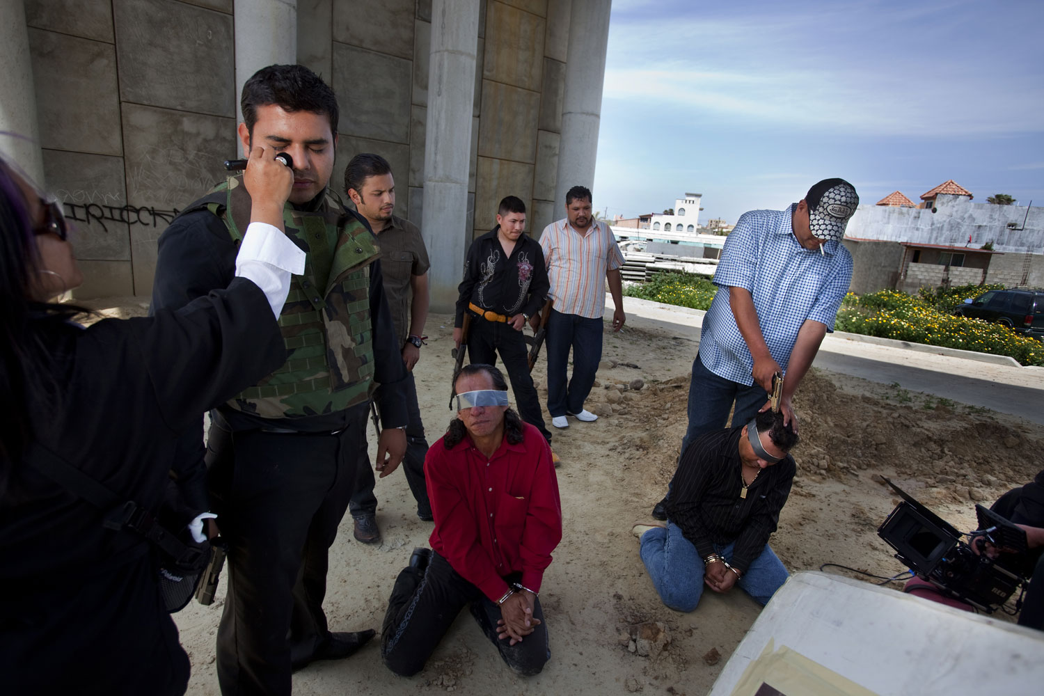 Art Imitates Life                               The popularity of narcocorridos has led to a spate of films with narco-themes. Here, actors in Tijuana prepare for a scene in Las Aguilas Andan Solas (Eagles Fly Alone)