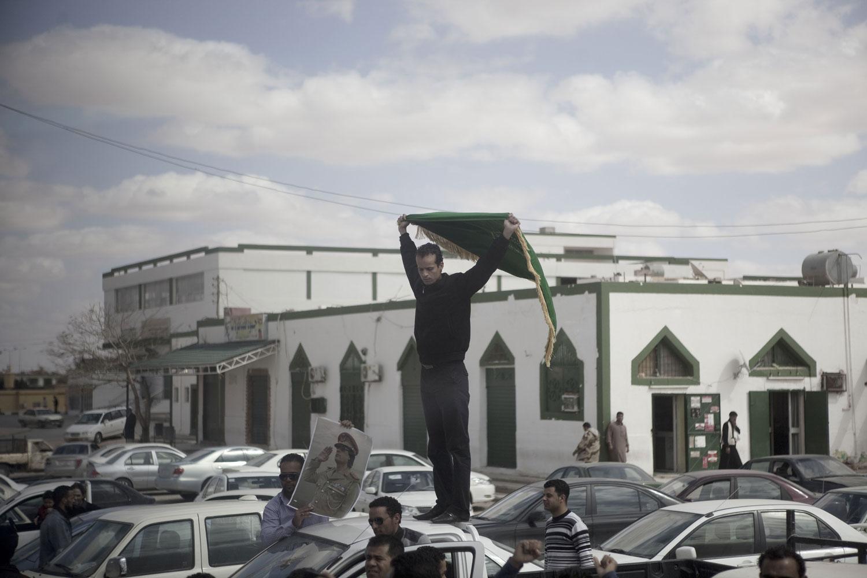 A Gaddafi supporter in Ban-Waled, March 23, 2011.