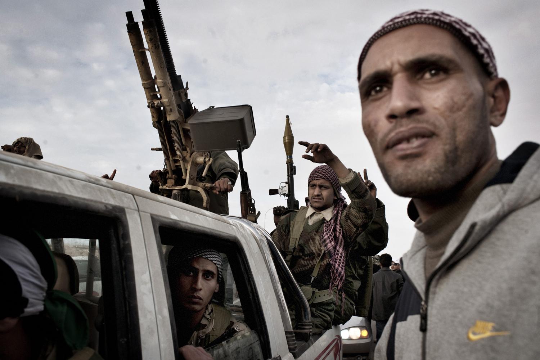 Libyan rebels before battle, March 2, 2011.
