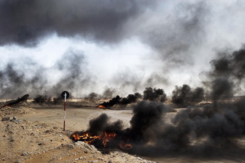 The battlefield in Ras Lanuf, March 11, 2011.