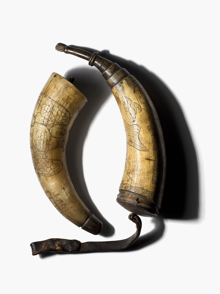 Two powder horns, one Confederate belonging to John Clark, Company G, 7th Florida Infantry and one Union belonging to J. Berry, Company E, 7th Pennsylvania Infantry.