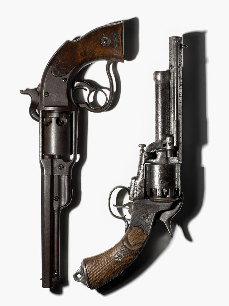 A Savage revolver, one of 20,000 manufactured during the Civil War with the vast majority used by Union soldiers and a LeMat revolver, developed by Dr. Jean Alexandre LeMat of New Orleans, LA. and used by the Confederates.