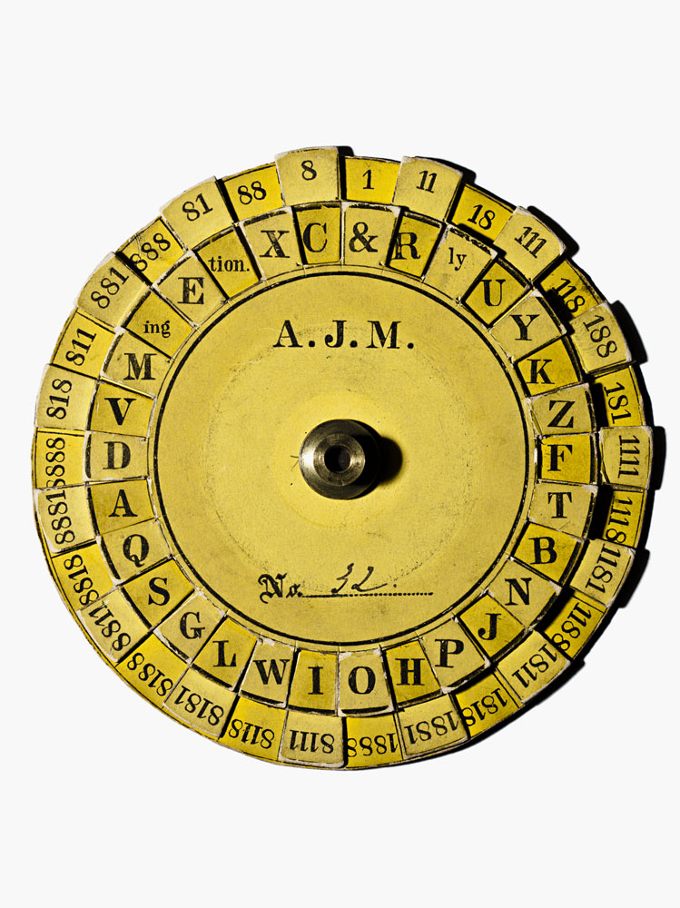 A U.S. Signal Corps Cipher Disk, developed by Albert J. Myer, Chief Signal Officer of The Army of the Potomac and was used to decode messages sent via signal flags during the Gettysburg Campaign.