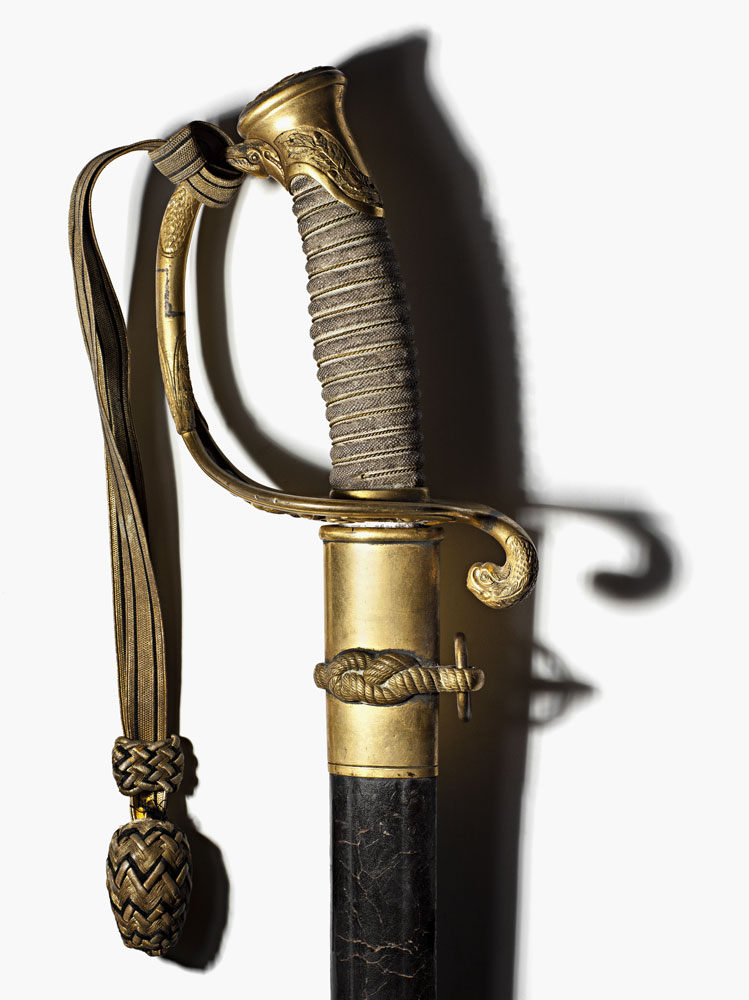 An Ames model 1852 Naval Officer's Sword, which belonged to Assistant Engineer John. M. Whittemore who was killed on board the U.S.S. Mohican November 2, 1861, when his ship was hit by enemy fire during the bombardment of Hilton Head in South Carolina.