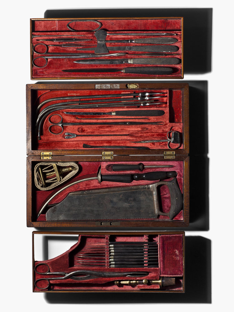 A cased surgical instrument kit, manufactured by George Tiemann of Philadelphia who was a major supplier of surgical instruments to Union forces during the civil war.