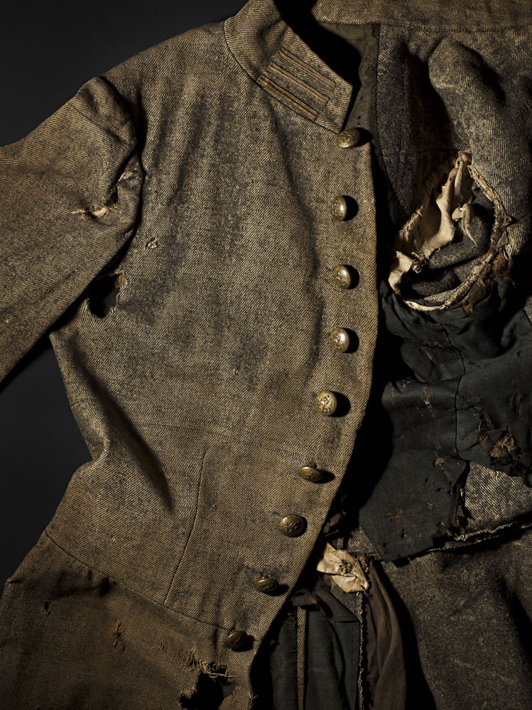 A single breasted frock coat that belonged to Captain William N. Ward of Company D, 47th Virginia Volunteer Infantry. He was wounded in the right arm while wearing this coat at the battle of Gaines Mill, and died August 29th, 1862 from the wound in a Richmond Hospital.