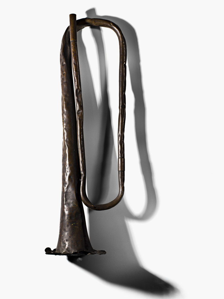 A bugle used during one of the final battles of Union Lieutenant General Ulysses S. Grant's Overland Campaign at Cold Harbor, between May 31 and June 12, 1884.