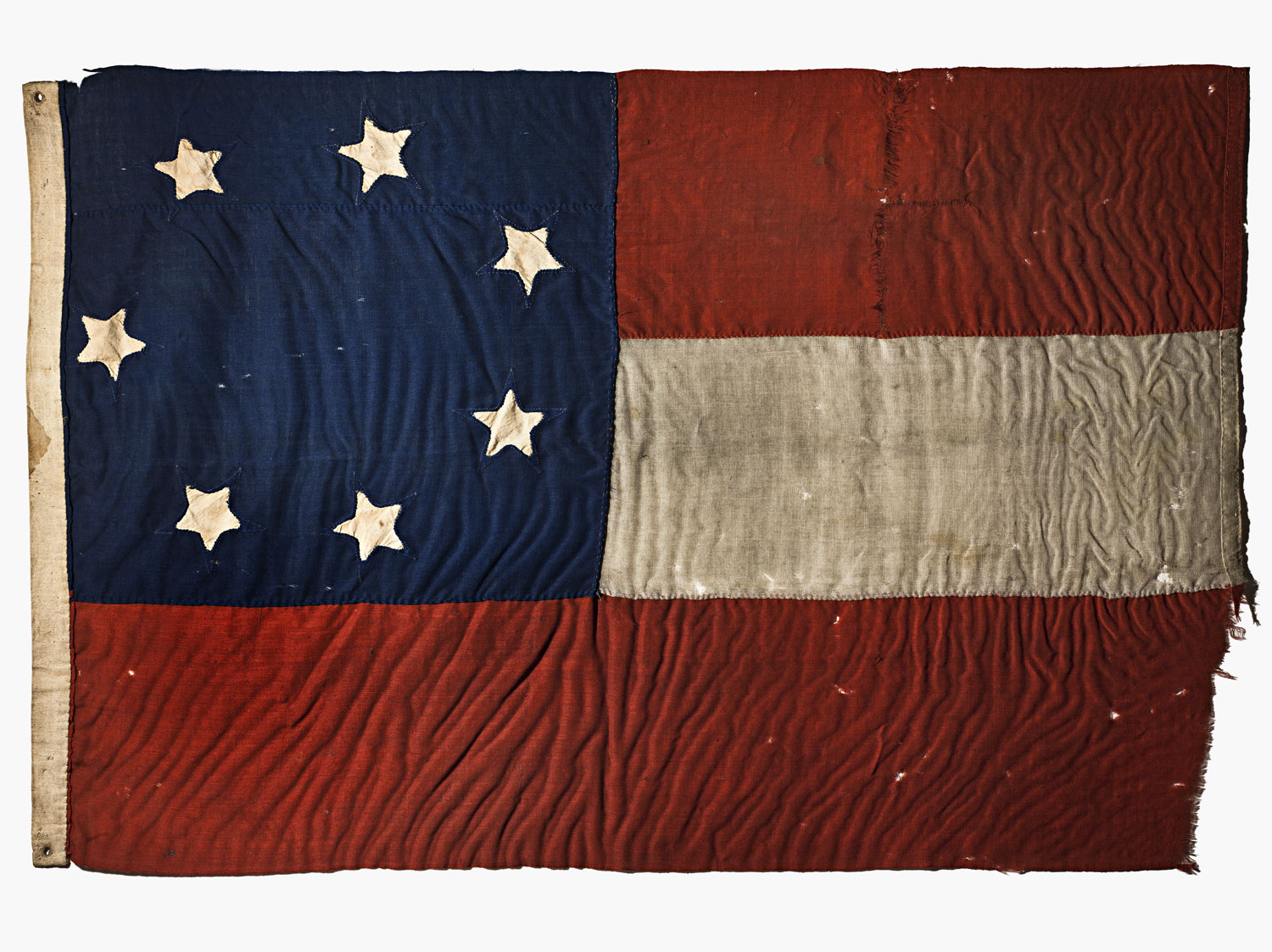 A seven star Confederate flag that was one of the first to fly over Ft. Sumter, in South Carolina.