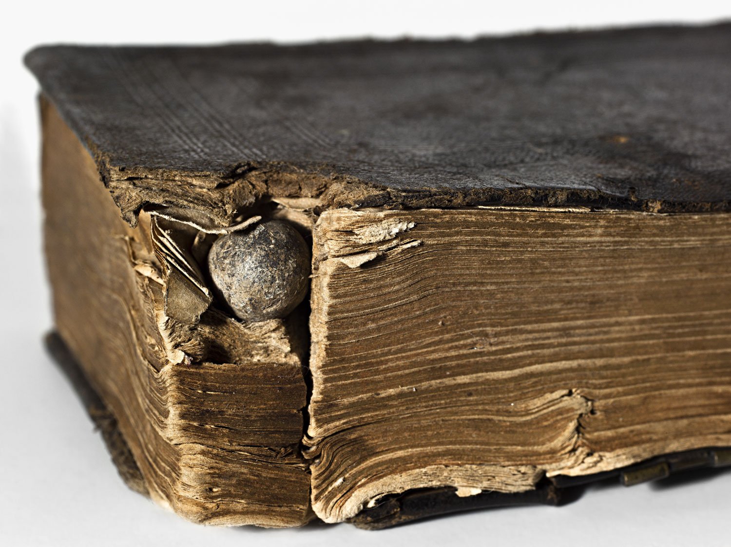A musket ball lodged in the pages of a bible, which probably saved the life of the soldier who carried it.