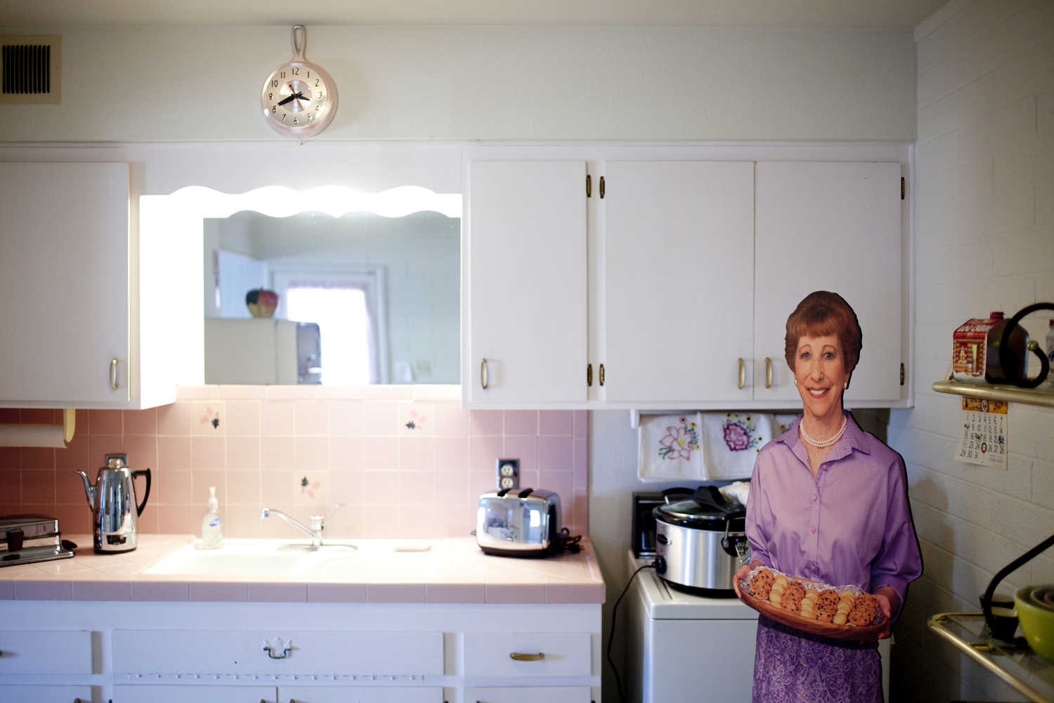The kitchen in one of the original model homes, which is now the Del Webb Sun Cities Museum, in Sun City, Arizona. The display shows what it looked like on its opening day on January 1, 1960. Sun City, Arizona is the United States' first planned retirement city.