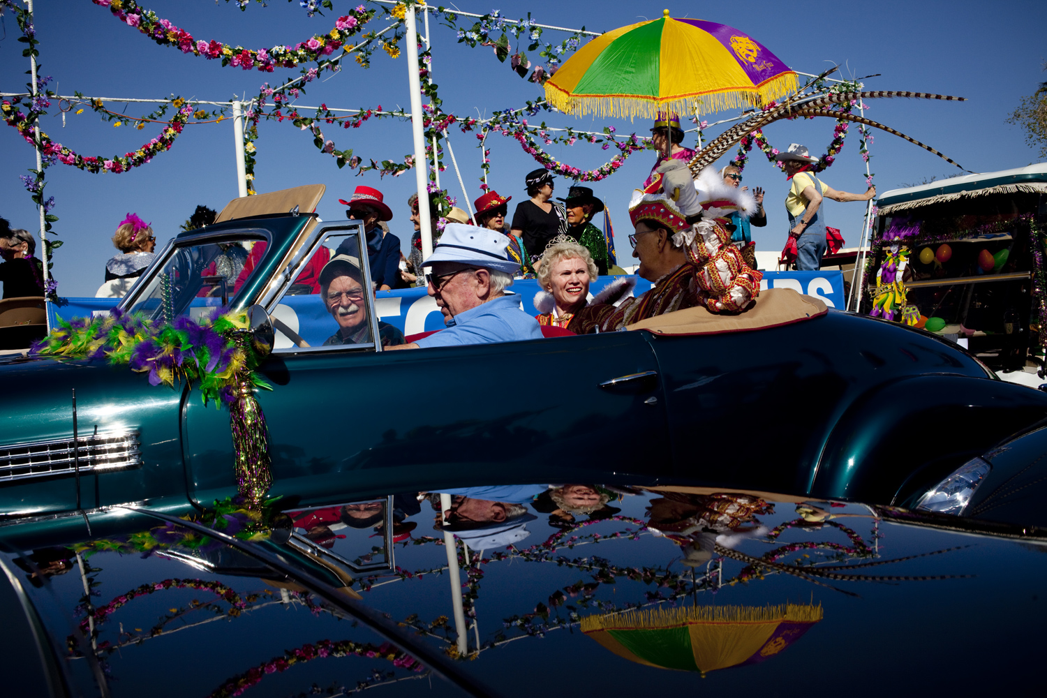 Various club members await their chance to join the Sun City Parade in Sun City, Arizona March 13, 2010.