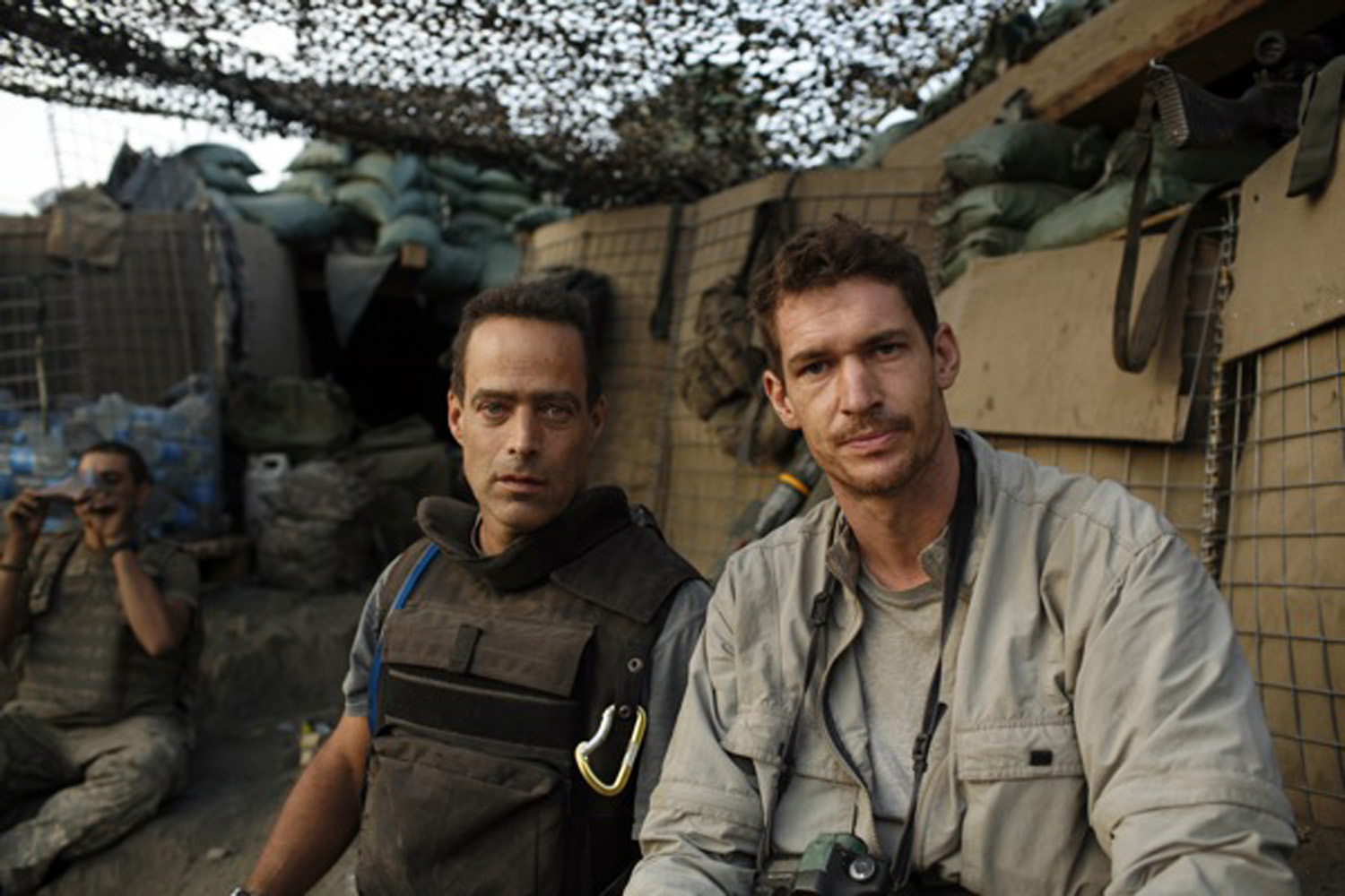 Tim Hetherington (right) and Sebastian Junger (left) at the Restrepo outpost in the Korengal Valley, Afghanistan. Junger and Hetherington jointly directed, filmed and produced the movie 'Restrepo' from June 2007 to January 2010.