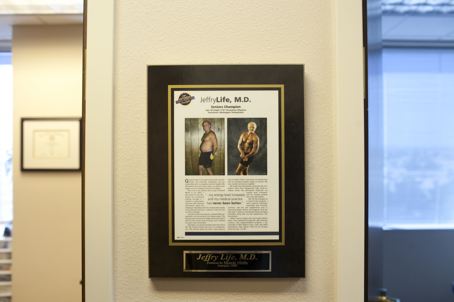 A placard in the office of Dr. Jeffery life showing before and after photos of himself prior to his being a patient at Cenegenics.