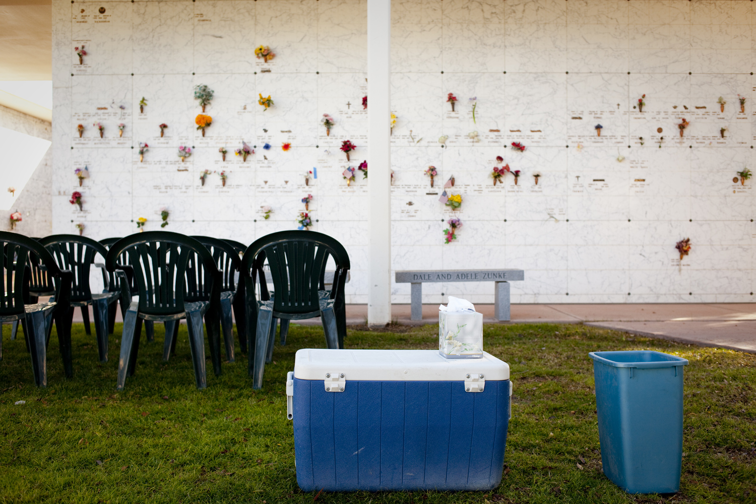 Chairs await the mourners of Arthur Scheffelman before his funeral at the Sunland Memorial Park in Sun City, Arizona on December 14, 2009.