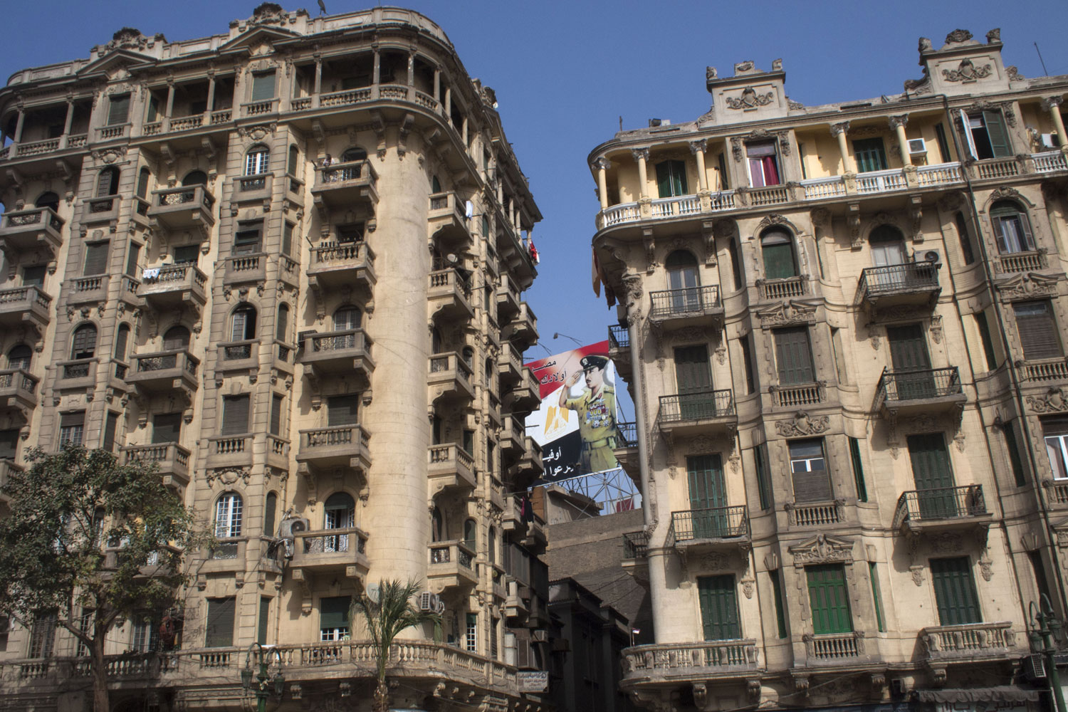 An Egyptian military poster hangs near Tahrir Square in Cairo, April 1, 2011.