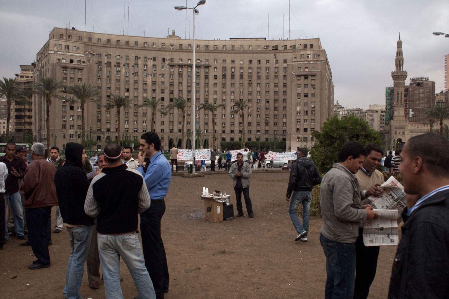 People gather daily at Tahrir Square to protest and discuss politics, April 3, 2011.