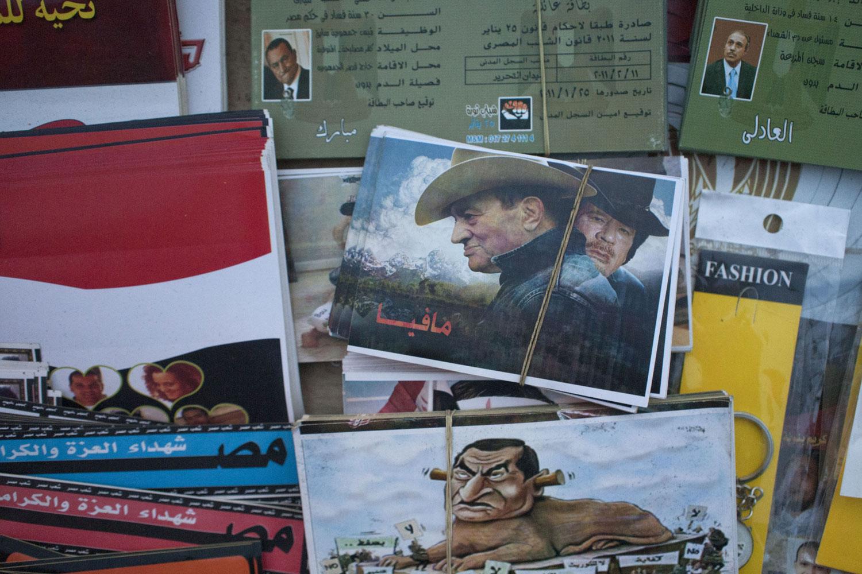 A vendor selling Egyptian revolution paraphernalia, April 4, 2011.