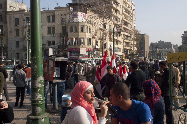 A couple near Tahrir Square, April 5, 2011.