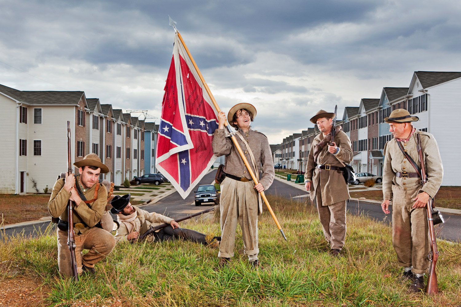 Locust Grove, Va.                               Confederate re-enactors pose at the Germanna Heights apartments. General Ulysses Grant and Robert E. Lee clashed for the first time in central Virginia on May 4, 1864, leaving nearly 100,000 casualties over the following 50 days.