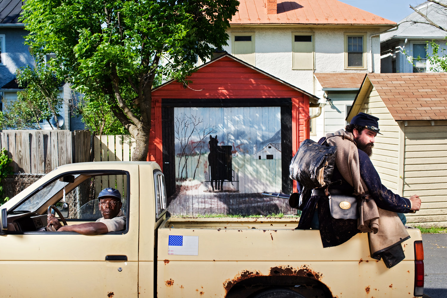 Winchester, Va.                               Prominent reenactor Robert Lee Hodge hitches a ride. Winchester changed hands 72 times during the War, and 13 times in just one day. Few of the local battlefields have been preserved.