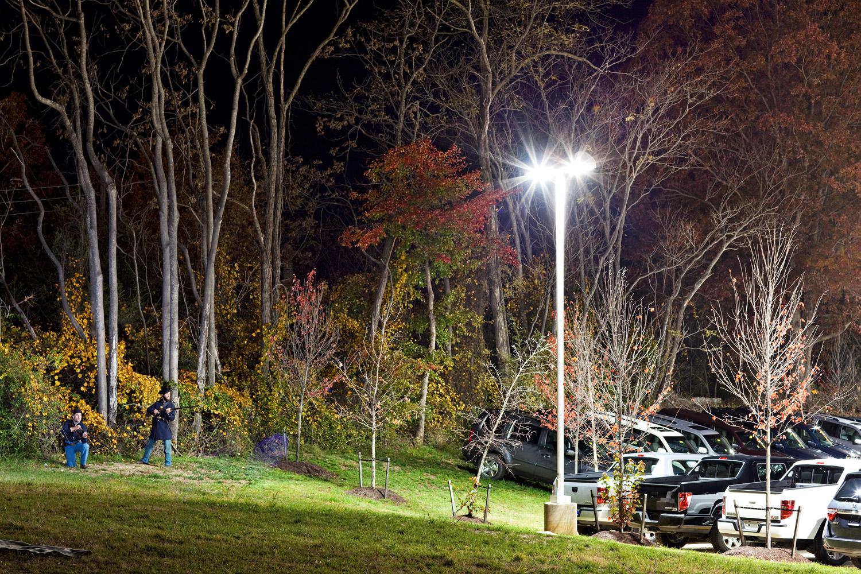 Fredricksburg, Va.                               Lars Prillaman and Brent Feito encounter a Honda dealership near a former Federal campsite.