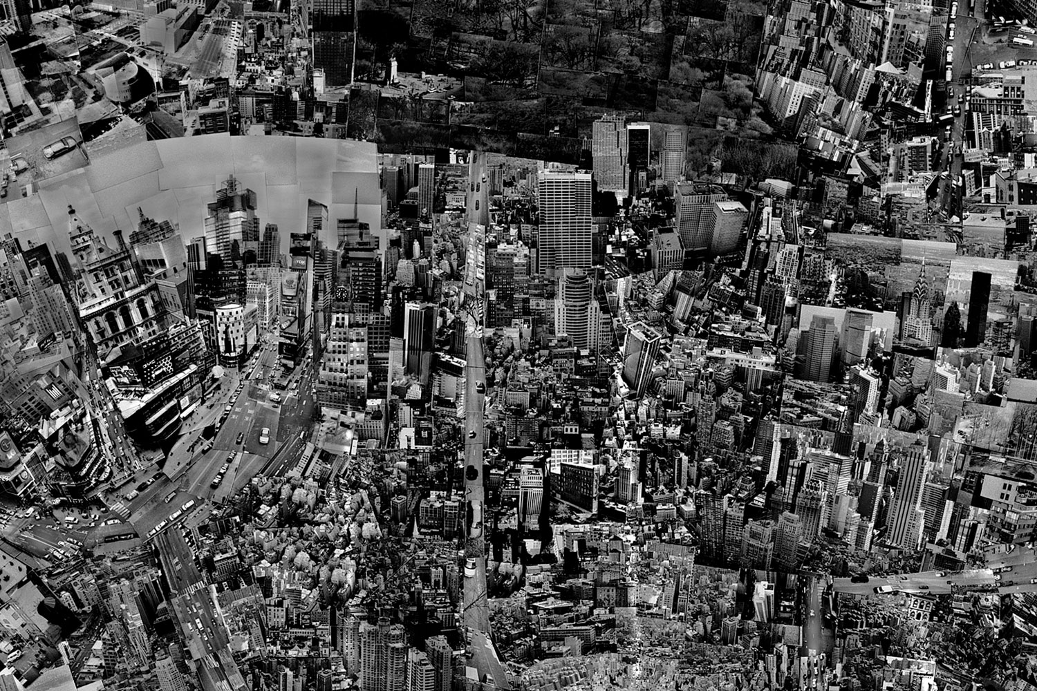 Diorama Map New York, 2006, Detail:  Shooting was very smooth as I had some friends to help me while shooting in the city. The last time I was in the city was on September 11th. When I came back in 2006, I felt a deep emotion while visiting Ground Zero.