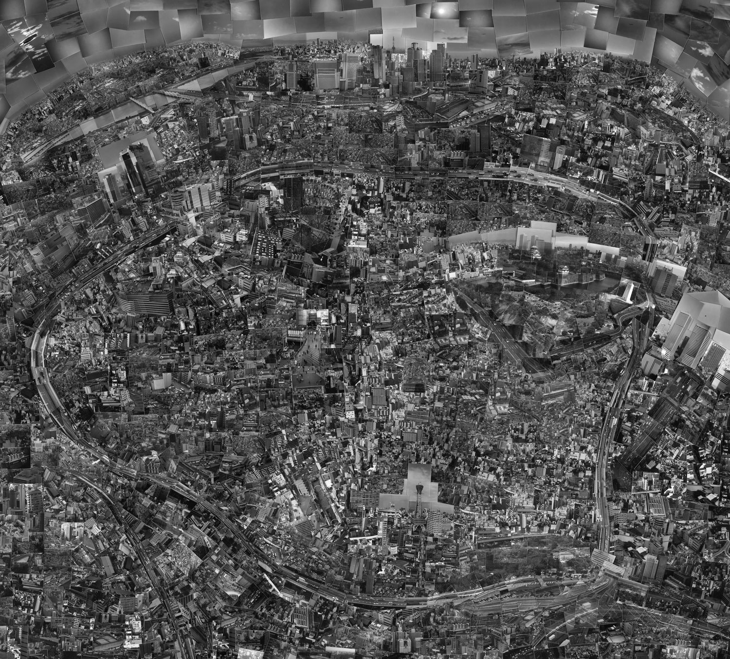 Diorama Map Osaka, 2003, Full:  I made this piece while I was in university. My university was in Osaka so I was very familiar with the place and actually, I remade this three times. Because of my familiarity [with the city], this piece was made from a non-touristic view. I think it is quite different from actual map of Osaka.