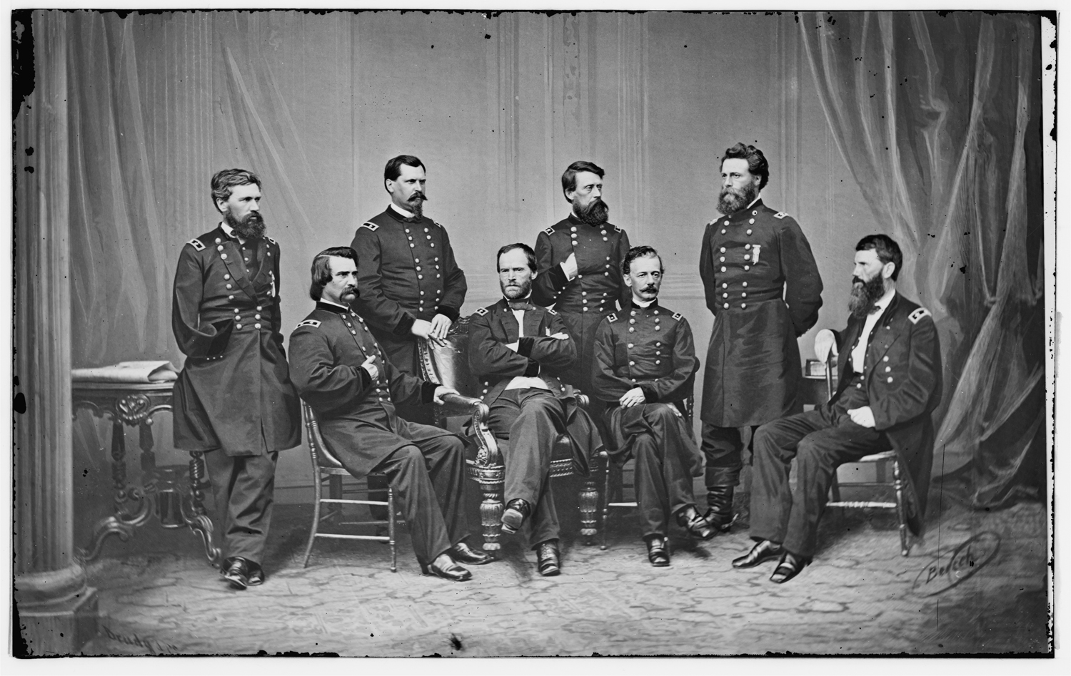 Civil War Generals, c. 1865                               Generally regarded as the world's first commercially successful photojournalist, Mathew Brady was also one of the medium's most accomplished manipulators. In this group portrait of William Tecumseh Sherman and his top officers, he added one figure. For the record, the men are, standing, from left: Oliver Otis Howard, William Babcock Hazen, Jefferson Columbus Davis and Joseph Anthony Mower; seated, from left: John Alexander Logan, Sherman, Henry Warner Slocum and Francis P. Blair.