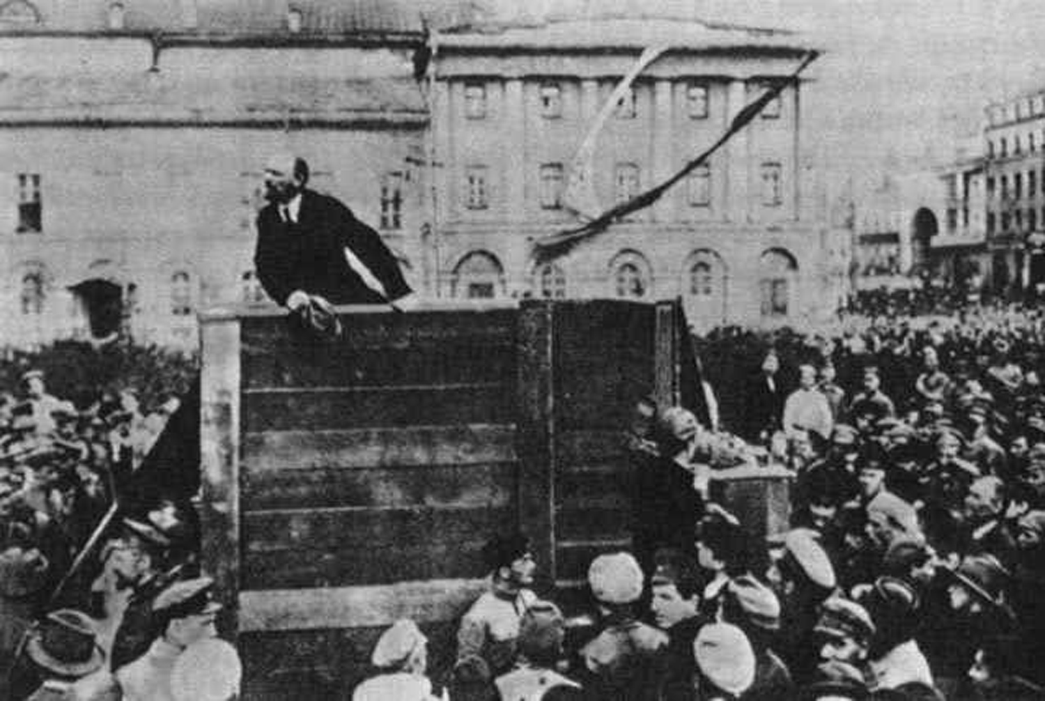Lenin Addresses the Troops, 1920                               One of the most widely reproduced scenes of the Russian Revolution, this photograph was taken by G.P. Goldshtein and was published in myriad forms during the Soviet era. The moment captures Lenin exhorting soldiers from the Red Army as they prepare to depart for the Polish front, where they would fight the troops of Josef Pilsudski.