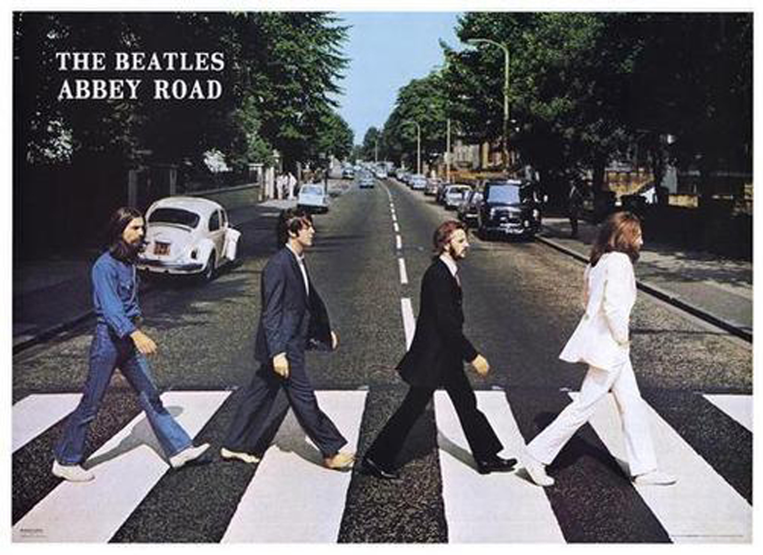 The Beatles' Abbey Road Poster                               Though it is true that this rectangular poster celebrating the Beatles' second-to-last release is cropped differently than the original square LP cover, it features one additional, more significant alteration of the original (and it's not Paul McCartney's lack of footwear).