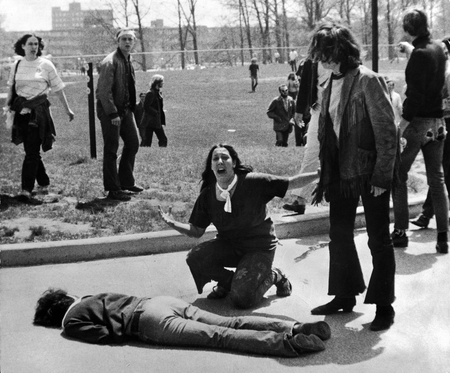 Kent State, 1970                               Fourteen-year-old Mary Ann Vecchio kneels over the body of Jeffrey Miller, a student at the university who was killed by National Guardsmen during a protest against the war in Vietnam. This Pulitzer Prize–winning photograph, taken by photojournalism student John Filo, became an icon of the tumultuous period.