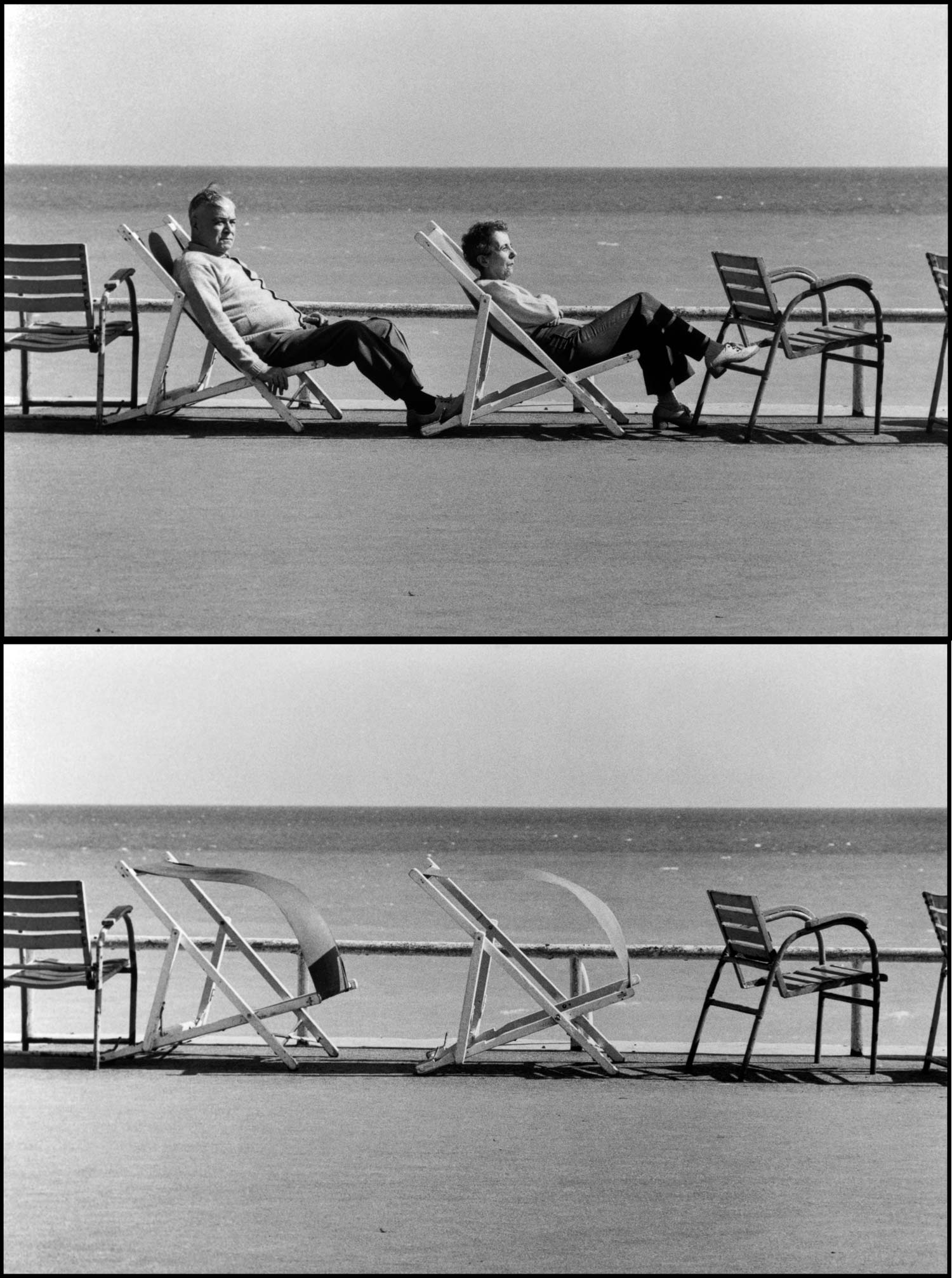 """This is likely to be the cover of my upcoming ""Sequences"" book. It shows two people sunning themselves and then being blown out of their chairs by a strong wind. Its taken in Cannes, France."""