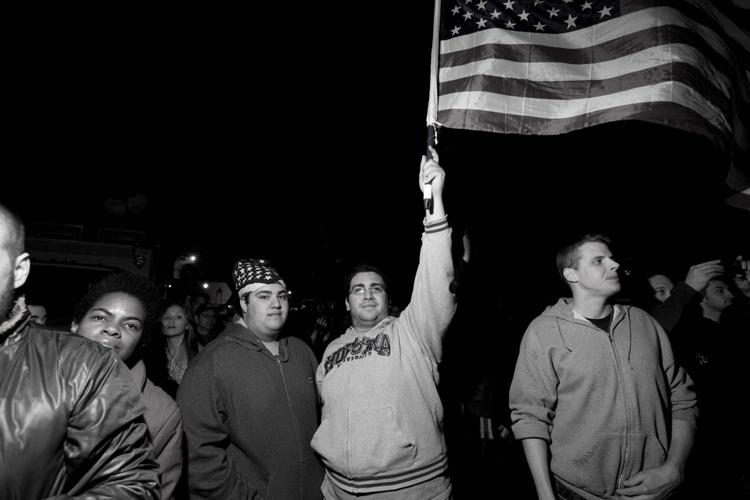 The word for the night was  closure . It sprung from almost every persons' lips who came to the hallowed ground of the World Trade Center to mark an end of sorts to our nation's most painful open wound. Many where young patriotic men waving or wrapping themselves in the stars and stripes.
