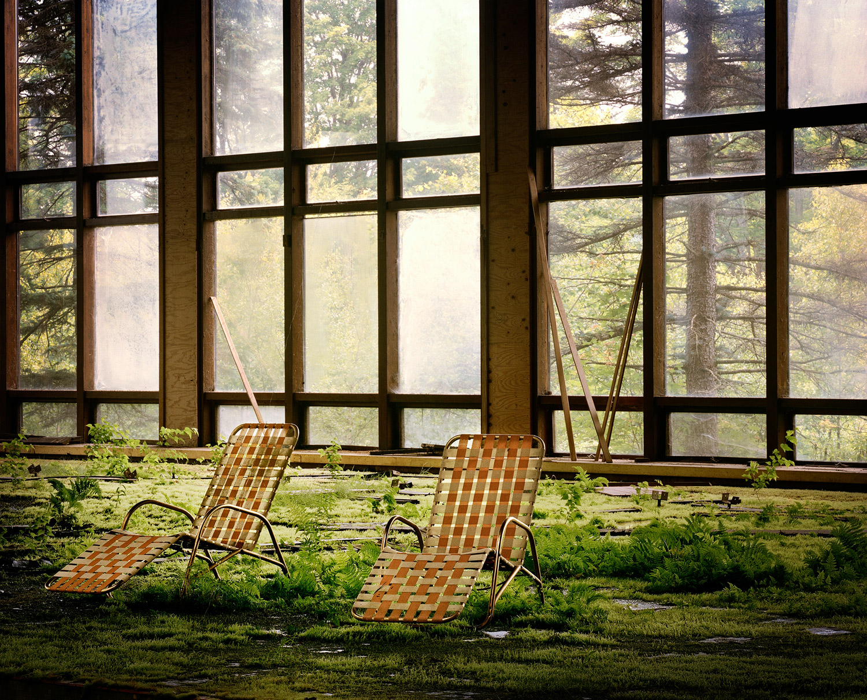 Grass grows through the floor of the indoor pool, Grossinger's Hotel, 2010