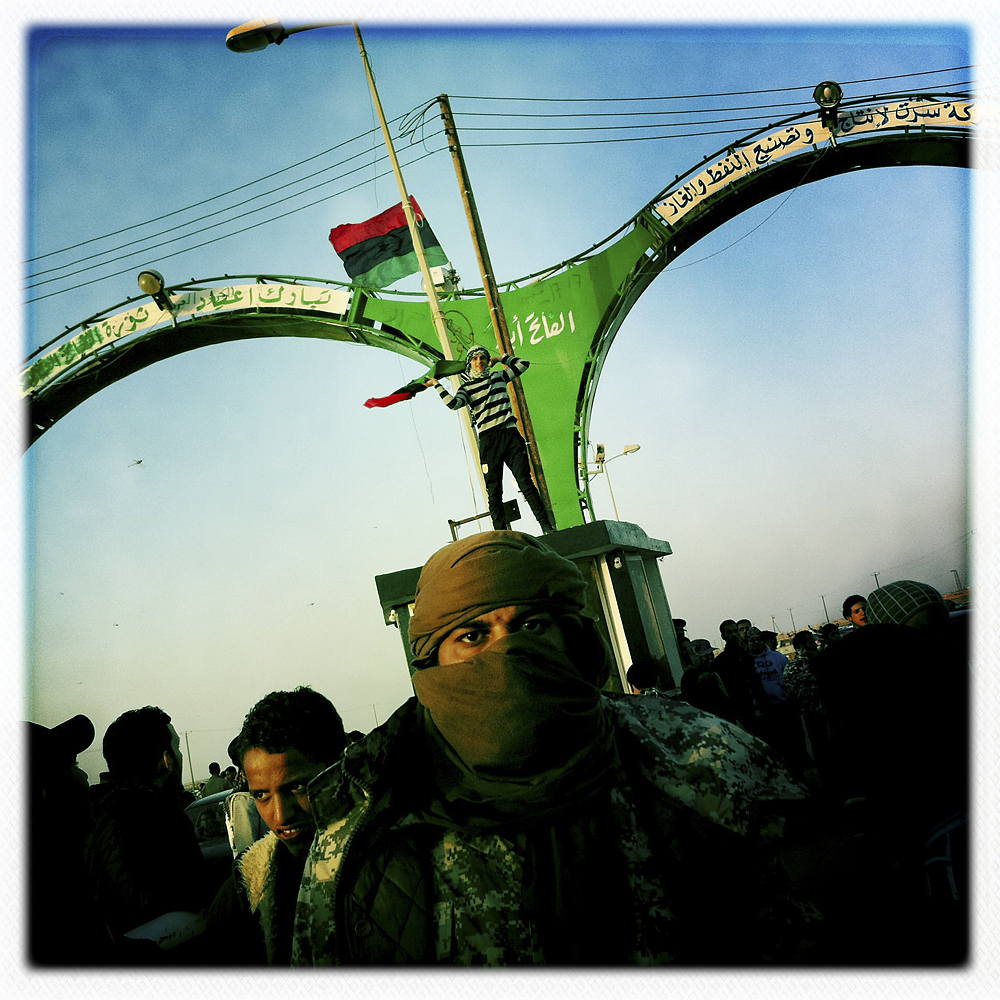 Opposition fighters at the west entrance to Ajdabiya, Libya, March 3, 2011.