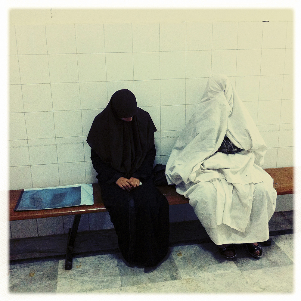 Women wait in a hospital, Ajdabiya, Libya, April 2, 2011.