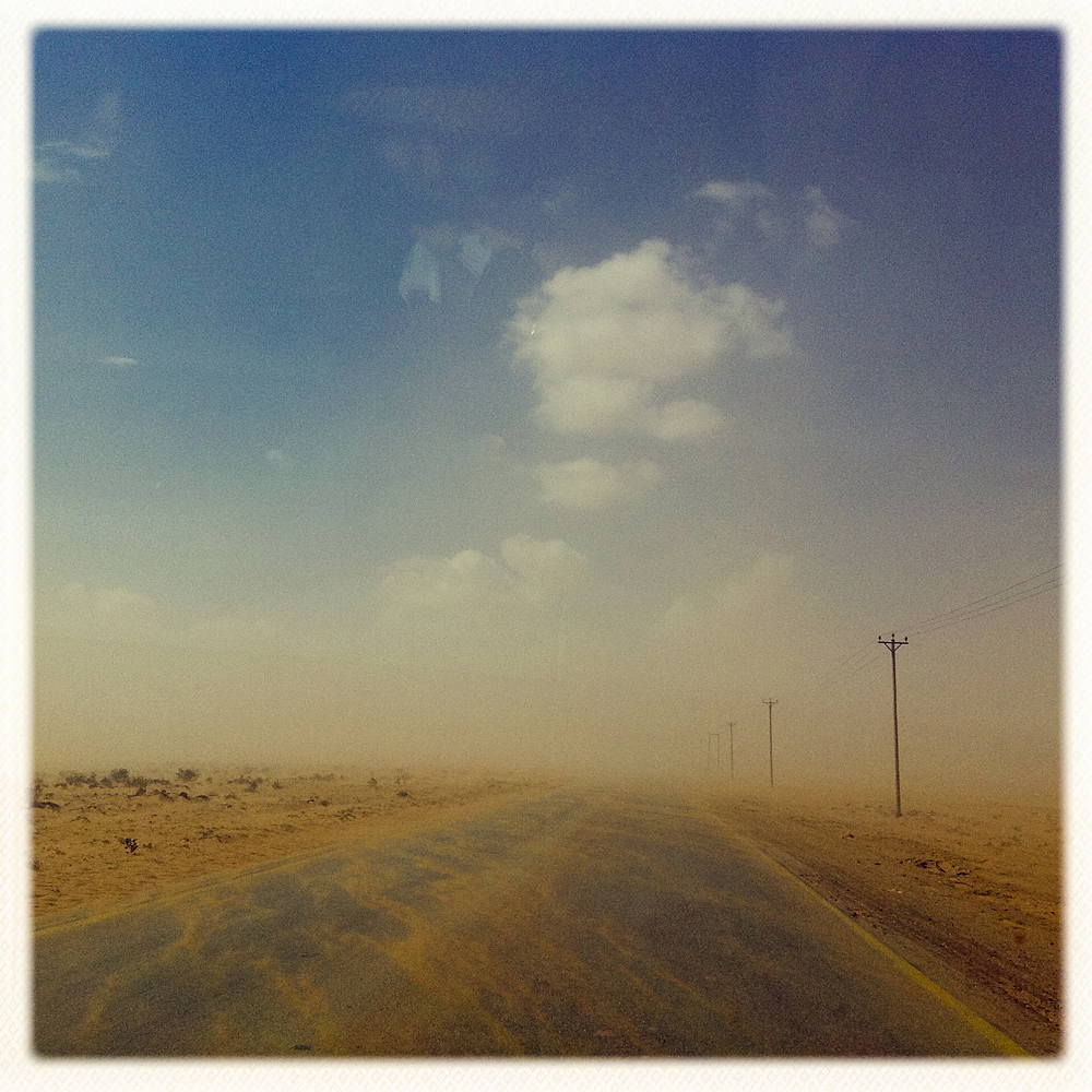 The desert highway. Somewhere between Tobruk and Benghazi, Libya, February 25, 2011.