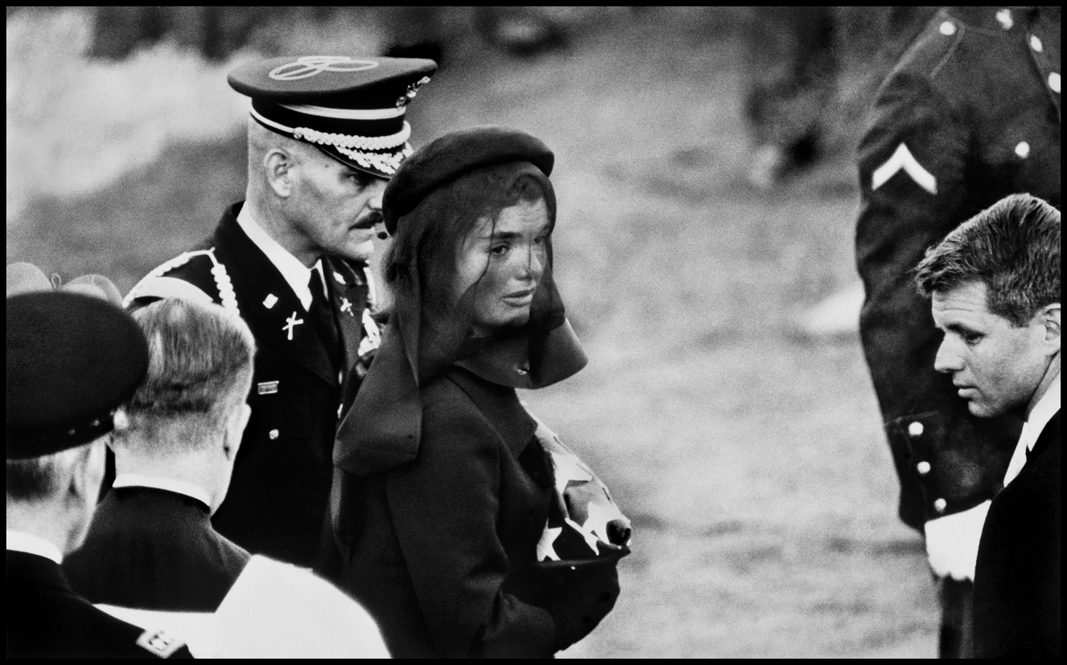 "Jackie Kennedy, Arlington, Virginia, 1963. ""During the Kennedy administration, I was for a period accredited to the White House and took some pictures connected to President Kennedy. When he was assassinated, I covered the funeral along with a few thousand other people and got this rather special picture of Jackie Kennedy at the graveside."""