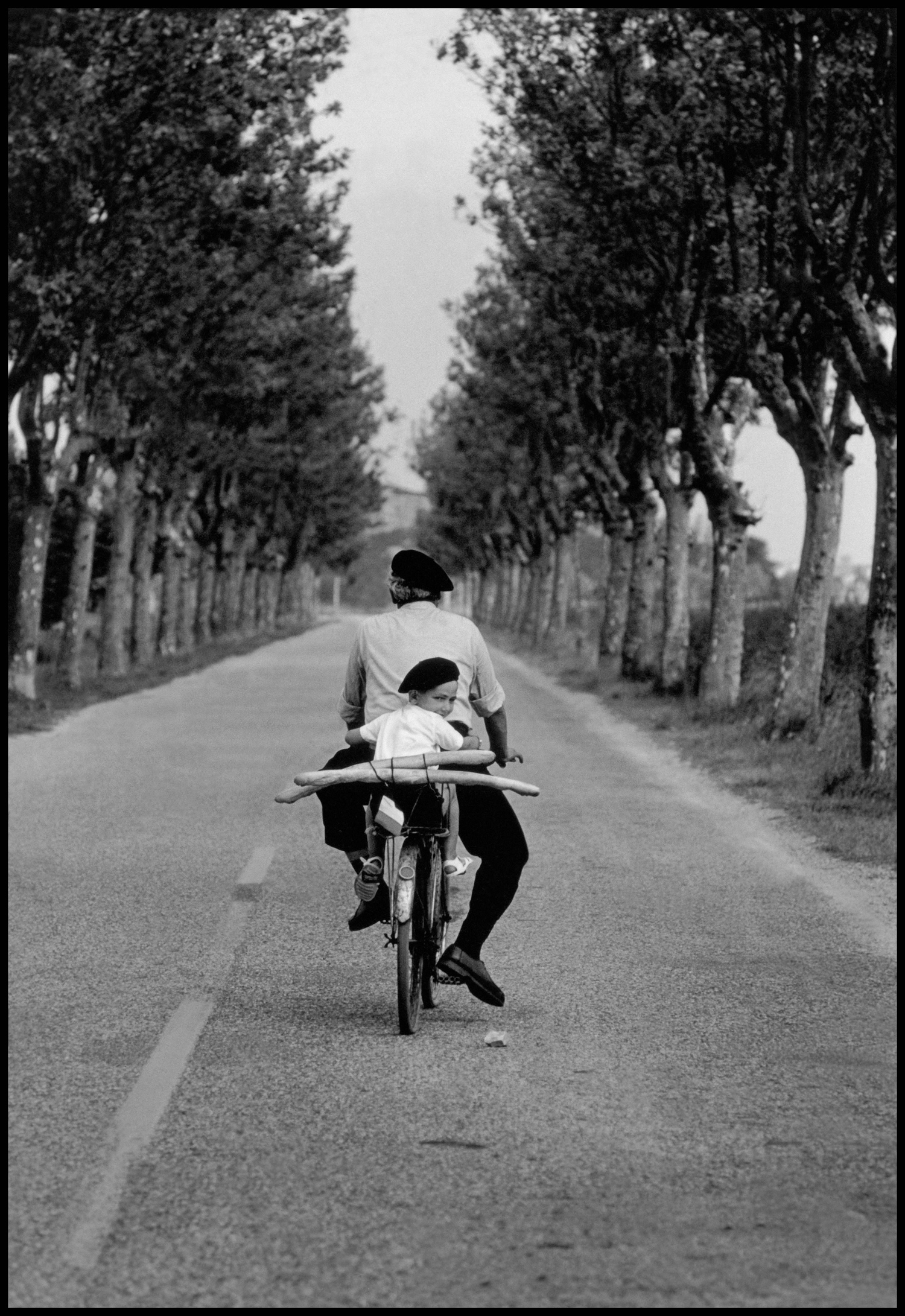 "Provence, France, 1955. ""This picture was actually done for French tourism and it's had quite a different life beyond it. It was used in many ways and has been copied many times. The guy riding the bike was my assistant and the kid looking back was his nephew — it was a set up picture."""