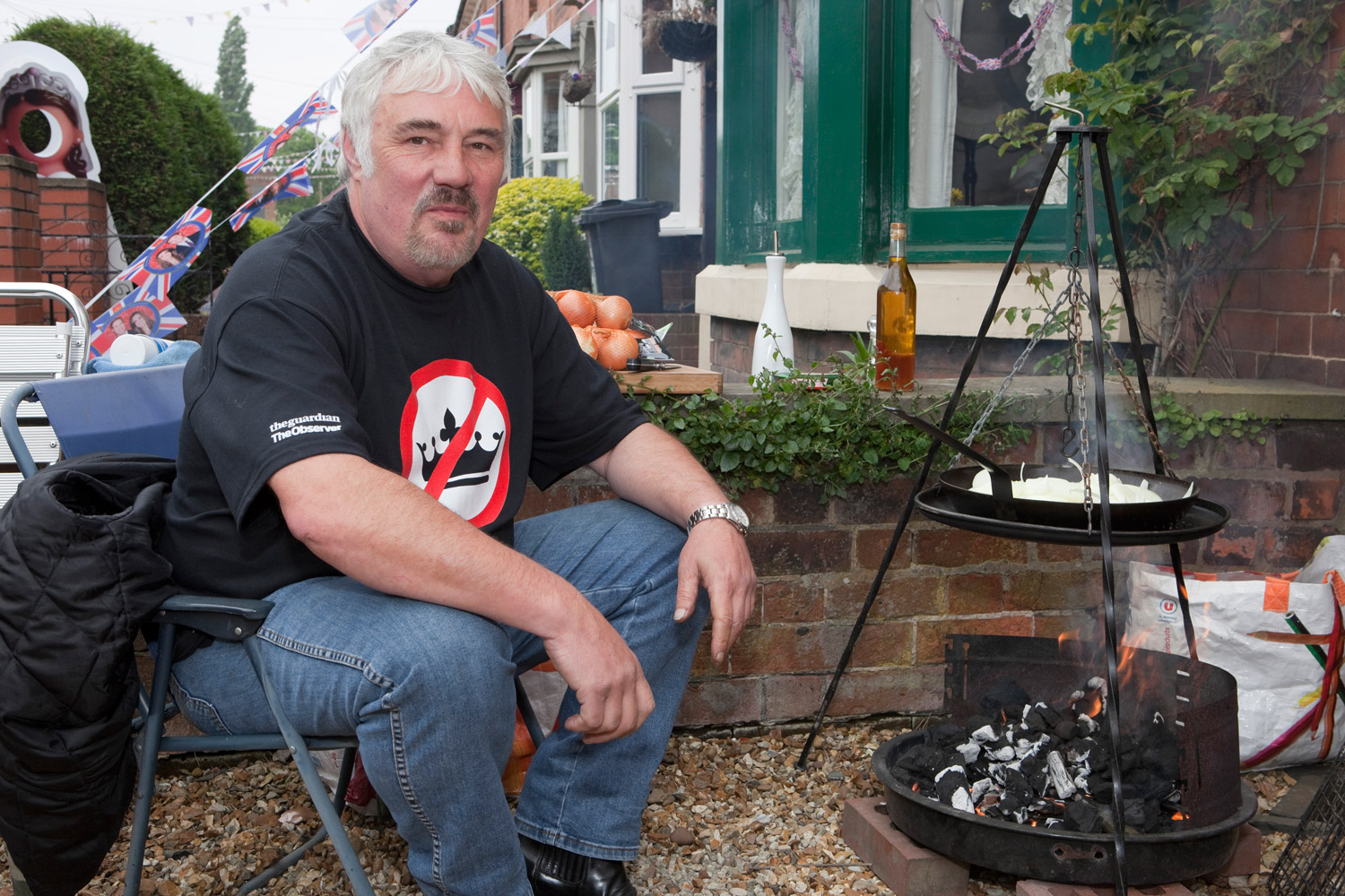 An anti-royal fan enjoying a barbecue in the back country of England.