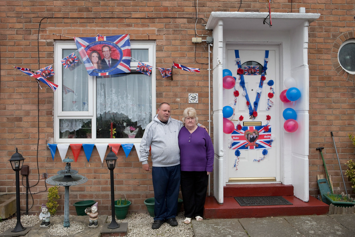 A couple decorated their house in celebration of the Royal Wedding in England.