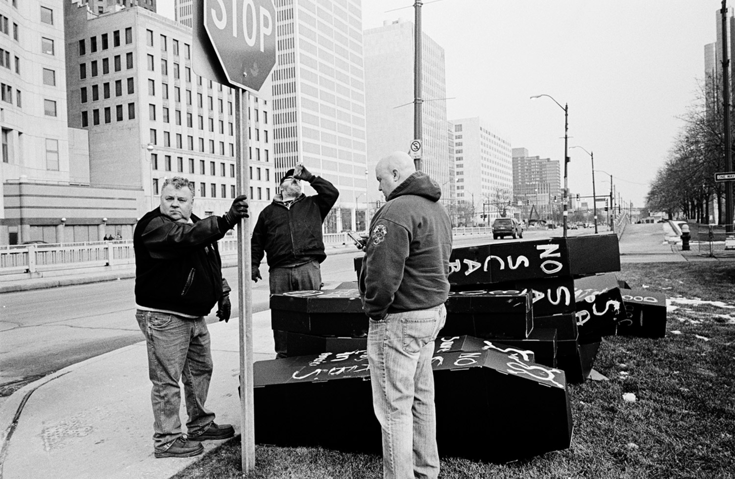 Auto union leaders and union members who recently lost their jobs in the Fiat/Chrysler merger hold a demonstration outside the North American International Auto Show at the Cobo Center in Detroit, January 16, 2010                                                              Suau:  Over the years, I have often thought about history and its relationship to photography, but now is the time to consider this idea with each curve in the long road ahead. The relationship with the Library of Congress, and my chance to work with Facing Change is an opportunity that dreams are made of. It is a unique chance to explore America and document its history in these times of political and economic uncertainty and mark this moment in American history with images and a vision that will be held indefinitely alongside the work of the FSA masters at the Library of Congress. As a photographer it does not get any better than that.
