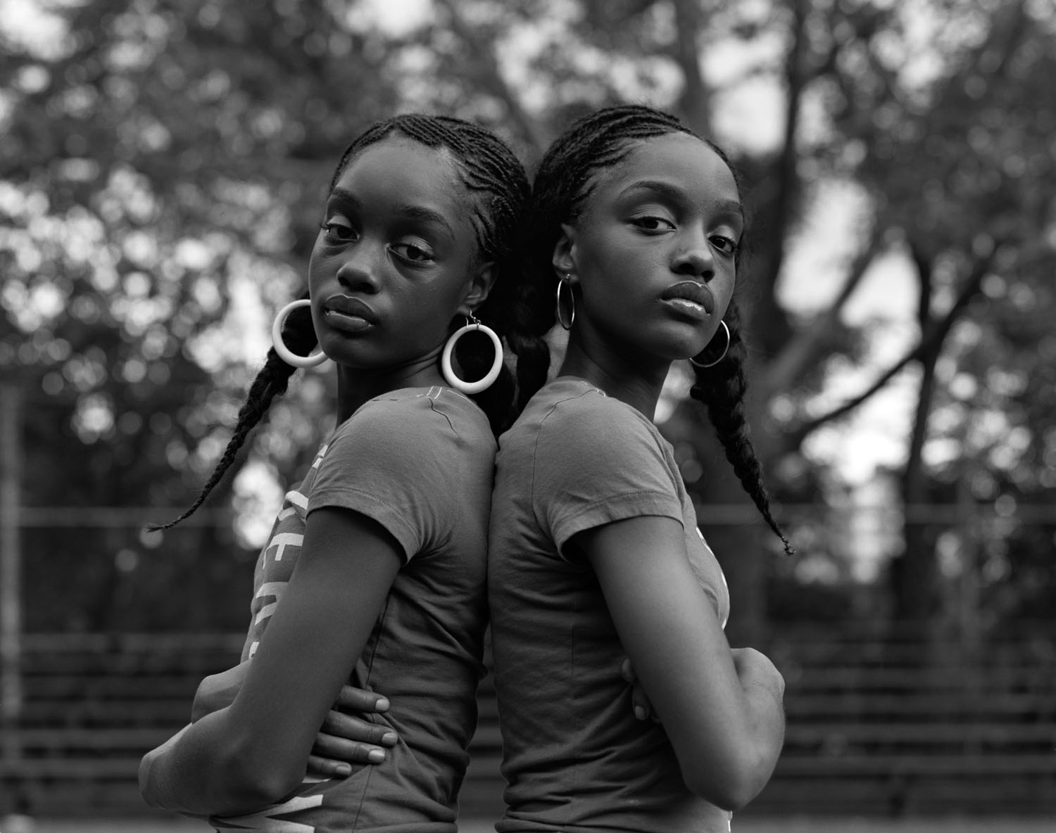 Elegance and Eloquence, twin sisters, photographed in Saint Nicholas Park in Harlem. 2007.