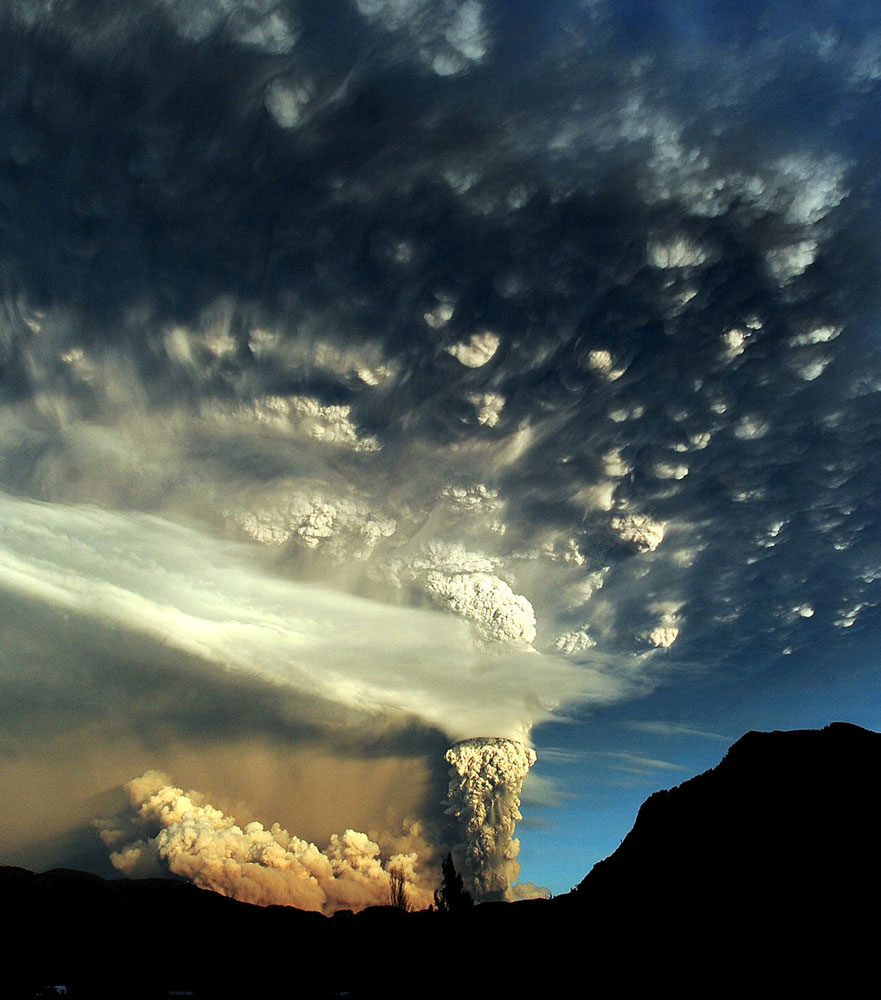 A cloud of ash billowing from Puyehue volcano near Osorno, Chile, on June 5, 2011.