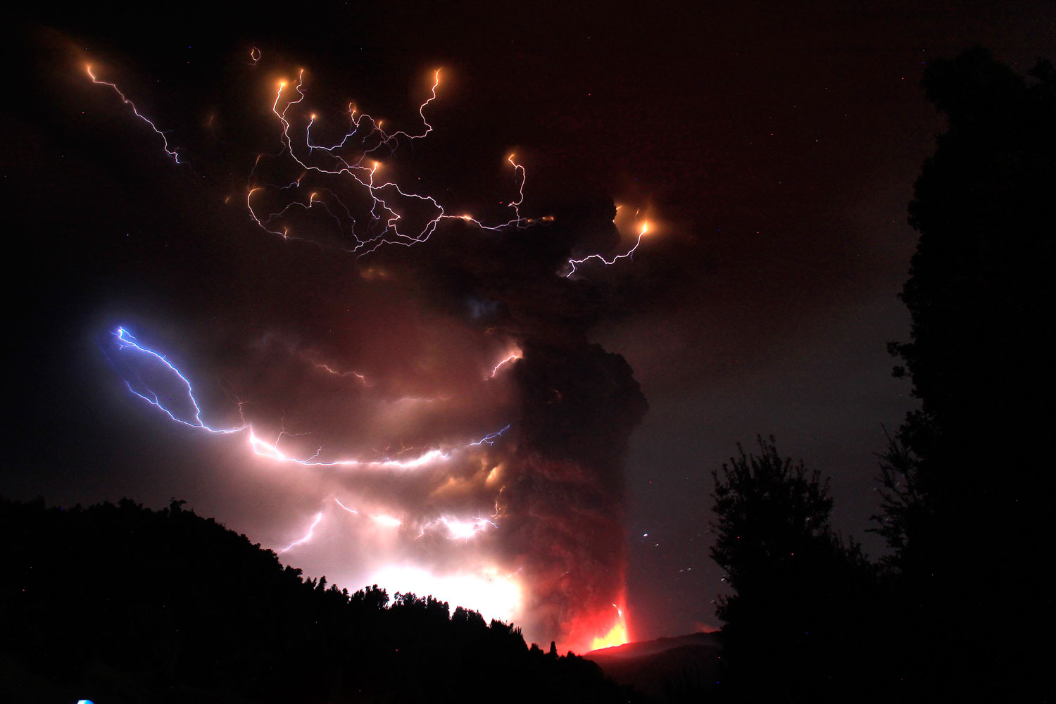 Lightning bolts strike around the Puyehue-Cordon Caulle volcanic chain near the southern city of Osorno on June 5, 2011.