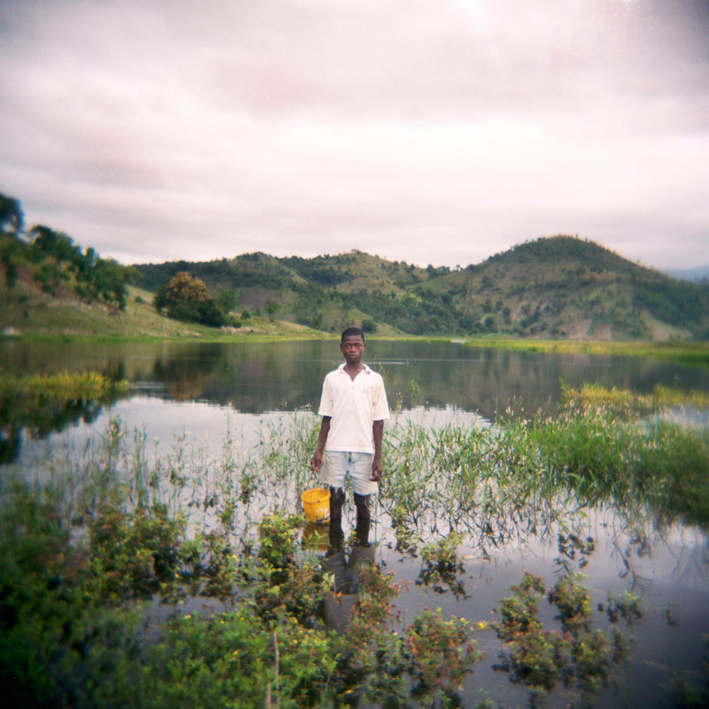 A man fishing near Camp Perrin, a small agricultural town south of Port-au-Prince, and the site of Fotokonbit's first workshop.