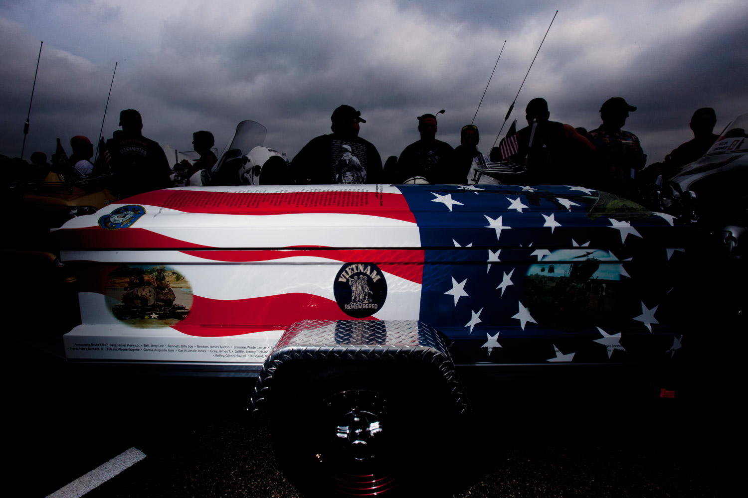 A coffin honoring soldiers who died in the Vietnam War at the start of the Rolling Thunder rally in Washington, DC. Sunday, May 29, 2011.