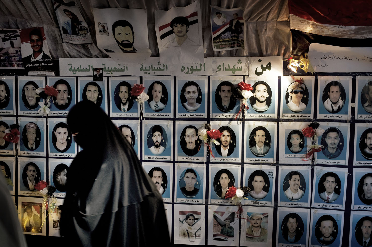 Portraits of the killed protesters at the gallery outside the university in Sana'a, May 14, 2011.